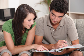 Couple looking at a file at home