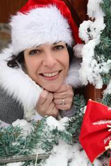 Jolly woman celebrating Christmas