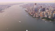 Aerial view skyscrapers Manhattan, Hudson river, New York