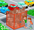Twins are near a recycling cage.  Vector illustration.