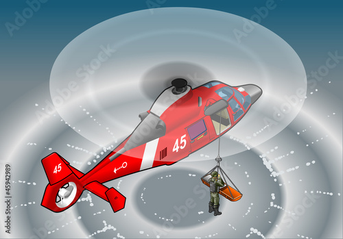 Tuinposter Militair isometric red helicopter in flight in rescue
