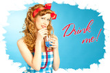 Cute Lovely redhead pin-up girl drinks.