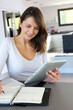 Beautiful teleworker working from home