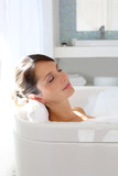 Fototapety Beautiful woman relaxing in bathtub