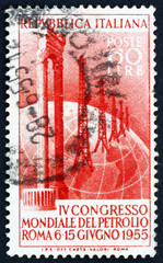 Postage stamp Italy 1955 Marble Columns and Oil Field on Globe