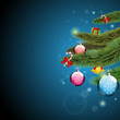 Christmas tree branches with presents and shine blue background
