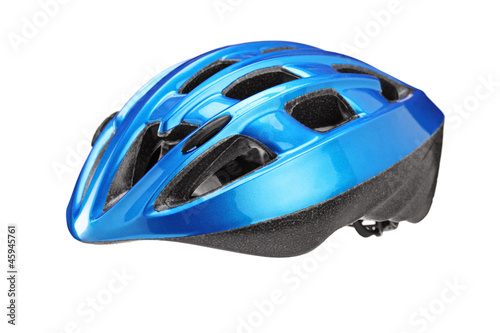 A studio shot of a blue helmet for byciclist