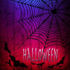 Halloween, sfondo con ragnatela e pipistrelli