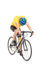 Full length portrait of a tired cyclist on a bicycle