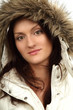 woman in furry white coat