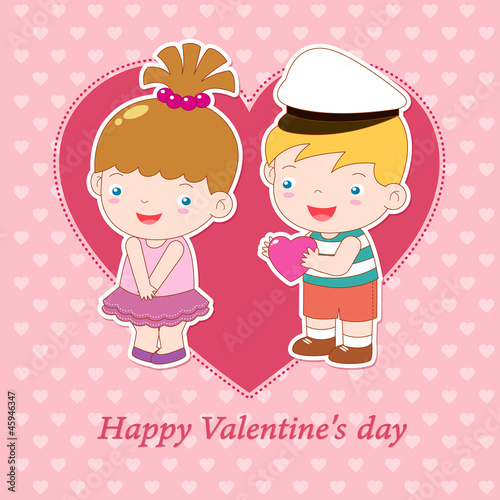 illustration of boy and girl on heart background