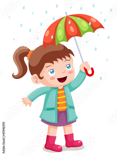 illustration of Girl in raining with umbrella