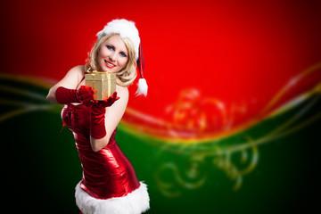 Miss Santa Claus mit Geschenk