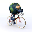 Planet earth riding a racing bike