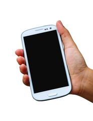 hand holding mobile smart phone with blank screen on white backg