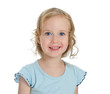 Portrait of smiling beautiful blond little girl. Isolated