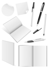 Set of blank mock-ups of pens and a books