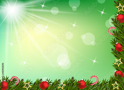 Christmas background with balls and decoration