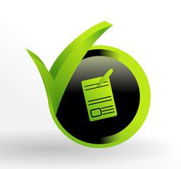 icône devis sur bouton web vert et noir