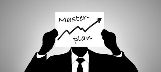 Geschäftsmann mit Zettel - Masterplan
