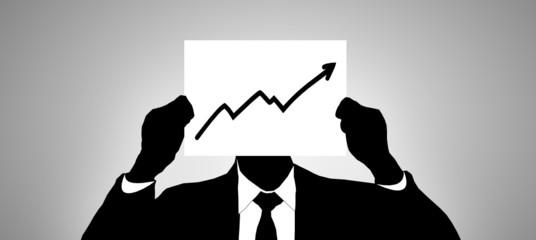 Geschäftsmann mit Zettel - Chart