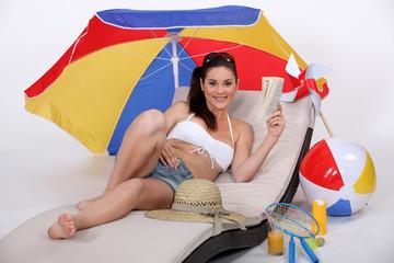 woman on the beach (studio photo)