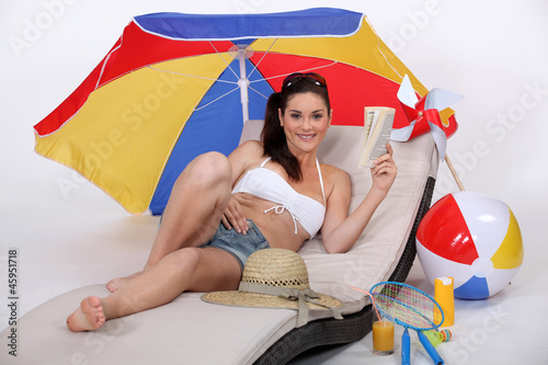 woman on the beach (studio photo)
