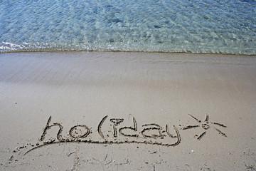 Holiday writing on beach of Bozcaada (Tenedos)in Aegean Sea
