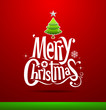 Christmas Greeting Card. Merry Christmas lettering, vector
