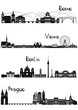 Sights of Berne, Berlin, Vienna and Prague, b-w vector