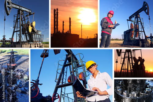 Workers in an Oilfield, split screen