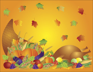 Thanksgiving Day Feast Cornucopia and Turkey Background Illustra