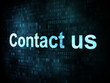 Information technology IT concept: pixelated words Contact us on