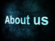 Information technology IT concept: pixelated words About us on d