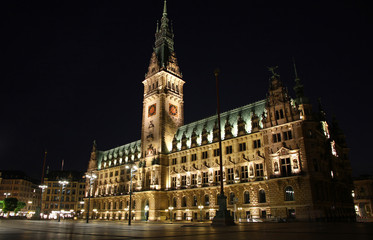 Building of  Hamburg Rathaus (City Hall) at night, Germany