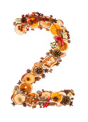 "Number ""2"" made of Christmas spices"