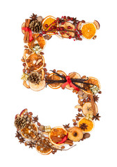 "Number ""5"" made of Christmas spices"