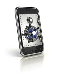 Smartphone with safe door - Mobile banking security concept