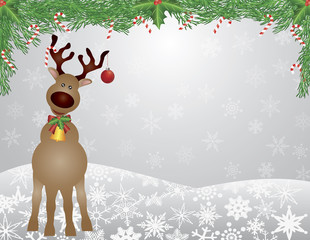 Santa Reindeer Snow Scene with Garland Illustration