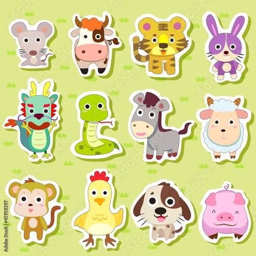 Foto op Canvas Boerderij 12 Chinese Zodiac animal stickers