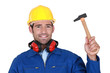 Construction worker with a hammer