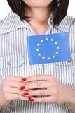 Woman holding an EU flag