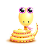Whimsical Kawaii Cute Cartoon Snake poster