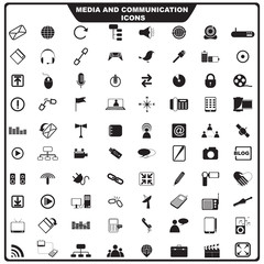 vector illustration of set of media icon