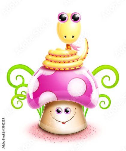 Whimsical Kawaii Cute Cartoon Snake on Mushroom