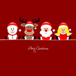 Sitting Snowman, Rudolph, Santa & Angel Red Background