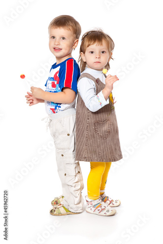 Funny kids in a studio