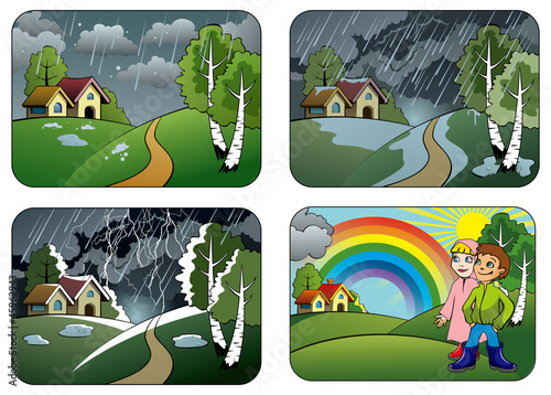 Set of different weather conditions, vector