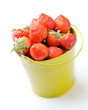 Strawberries inside Yellow Bucket