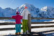 Winter sports, skiers on ski vacations